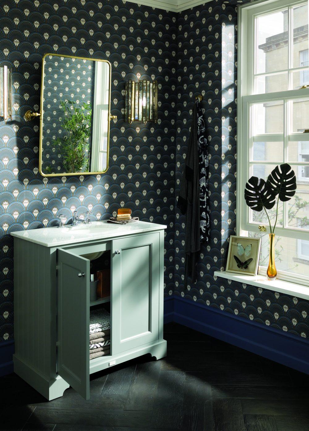The Open Plummett Grey 800 Furniture Unit with Divine Savages Wallpaper - Deco Martini