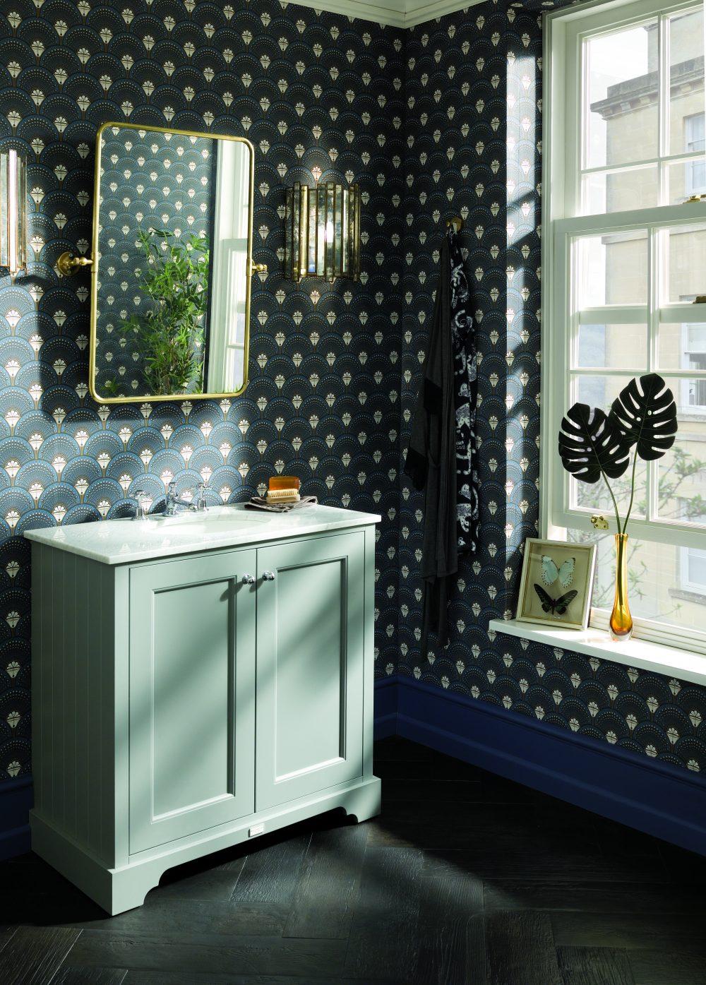The Plummett Grey 800 Furniture Unit with Divine Savages Wallpaper - Deco Martini