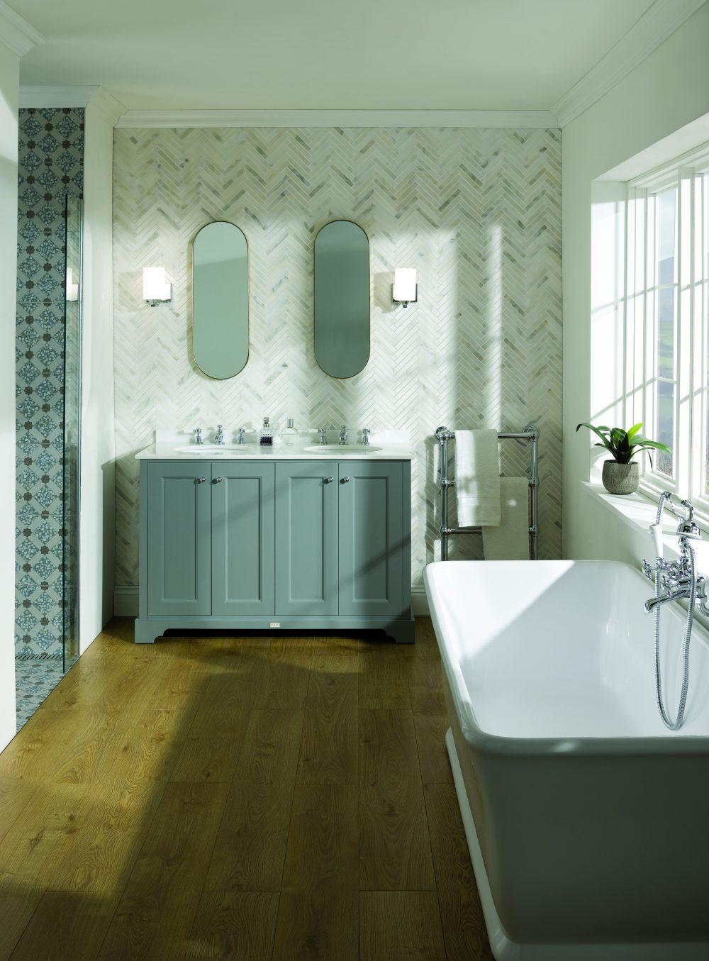 The Plummett Grey Double Basin Unit - with Ca' Pietra Tiles