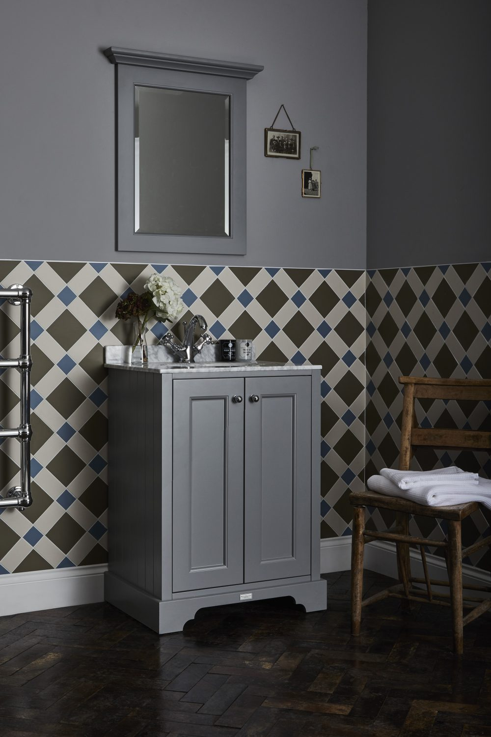 The Plummett Grey Furniture Unit with Grey Marble